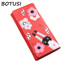 купить BOTUSI Flower Cat Ladies Wallets Leather Women Long Purse Hasp Wallet Money Bag Cards Purse Lady Clutch Coin Purses Photo Holder по цене 263.78 рублей