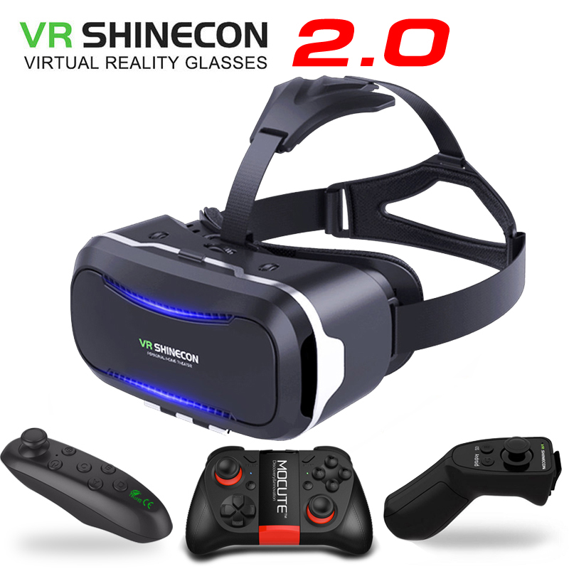 New Original VR Shinecon II 2.0 Helmet Cardboard Virtual Reality 3D Glasses Mobile Phone Video Movie for Smartphone with Gamepad image