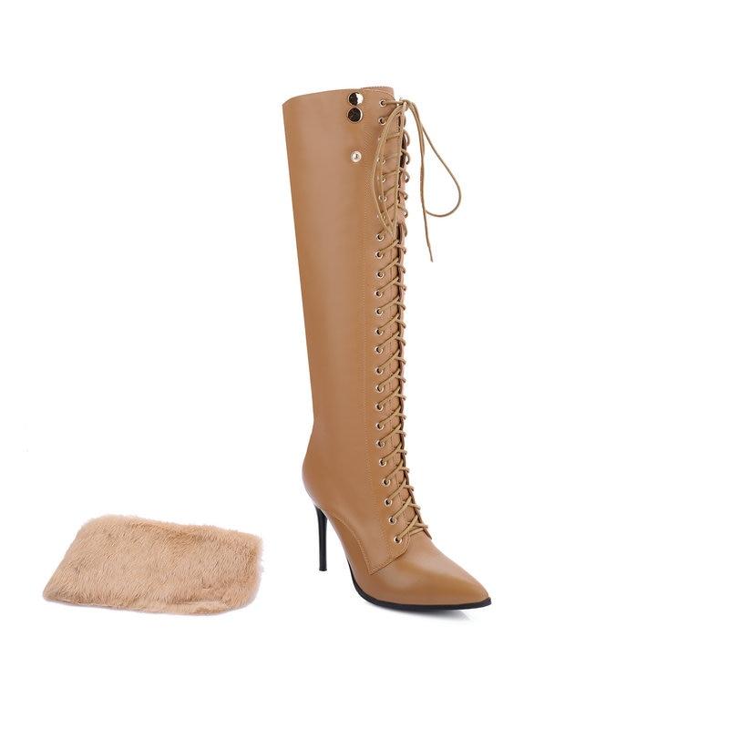 43 Encaje Vestido Tamaño Tacones Gran Señoras De negro Las Mujeres Apricot Altos Nieve Botas Zapatos Rodilla Alta Thin Nuevo Invierno Hasta UdqfU1