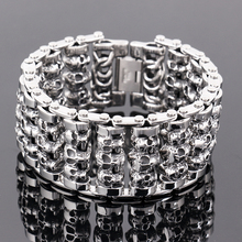 Новый 316L Нержавеющая сталь 35 мм огромный тяжелый чистого серебра Для Мужчин Скелет Череп браслет призрак браслет Байкер панк украшения