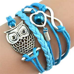 Jewelry Fashion Bracelet Charm Multilayer Gift Women for Hair-Tie Lovely Infinity-Owl
