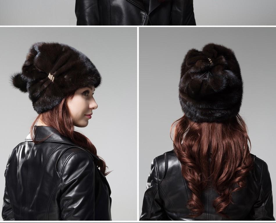 mink fur winter hats for women PCM028 (10)