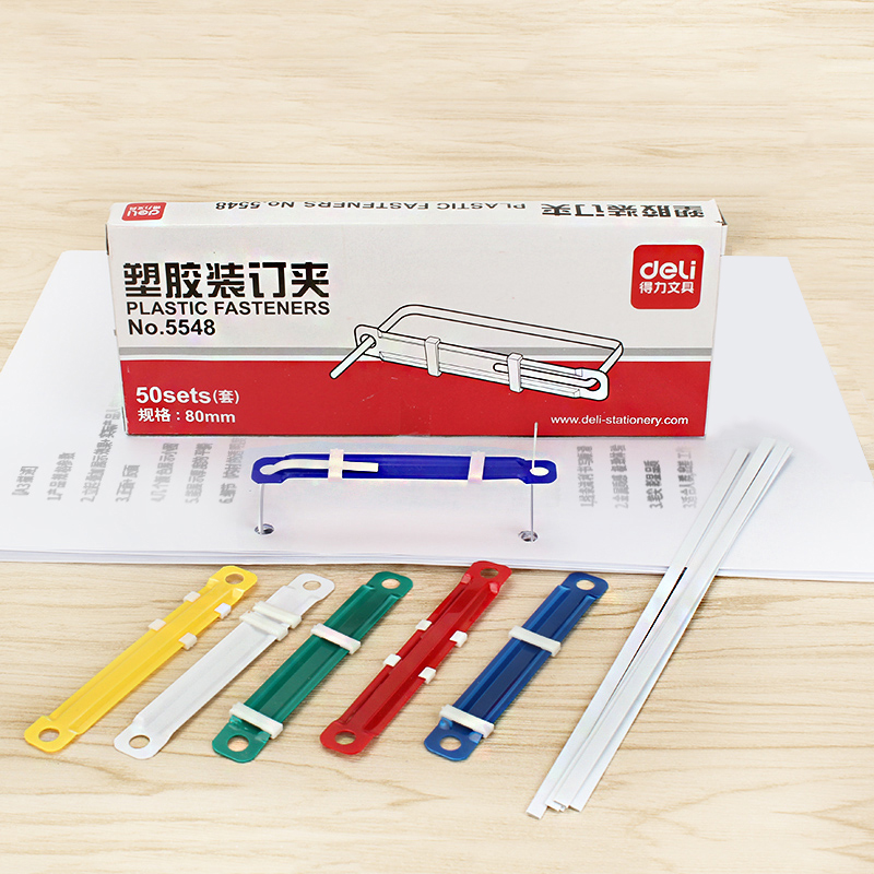 50pcs/Box Plastic Fasteners Binder Clip Colors 2 Holes Punch Binding Machine Paper Clips A4 Document File Office School Supplies
