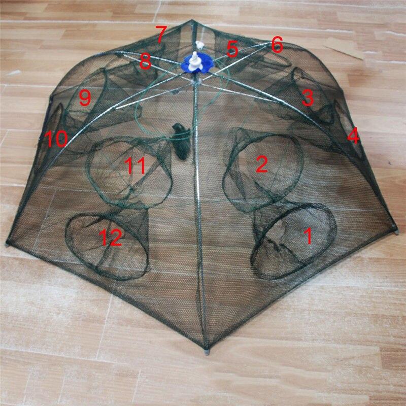 Strengthened 4 16 holes automatic fishing net shrimp cage nylon foldable crab fish trap cast net