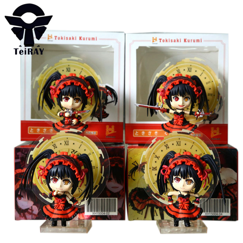 4pcs Japan Anime Nendoroid Figuras Date A Live Sexy Kurumi Tokisaki Pvc action figures toy Brinquedo Kids Birthday toys gift 4 japan anime date a live wallet tokisaki kurumi cosplay wallets coin card women men bifold purse