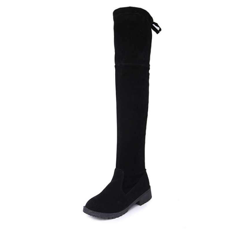 Size34-41 Kış Diz Çizmeler Üzerinde Kadın Streç Kumaş Kadın Uyluk Yüksek Seksi Dantel Kadın düz ayakkabı Uzun Bota Feminina