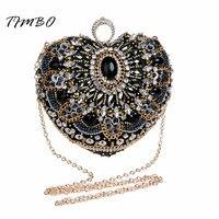 New Heart Shape Black Beaded Knucklebox Finger Ring Crystal Lock Satin Evening Bag Women Wedding Fashion