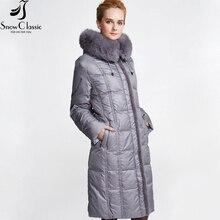 SnowClassic winter down coat women 2016 long Thick white duck coat down plus size 6xl parkas real fox fur collar Jacket 12278a