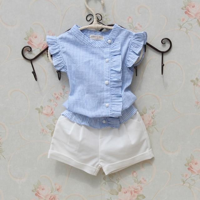 3fd8b697cb8 Girls Blouse Summer Cotton Striped Shirt 2018 Casual Blouse Girl Sleeveless  Button Design Shirts for Teenager