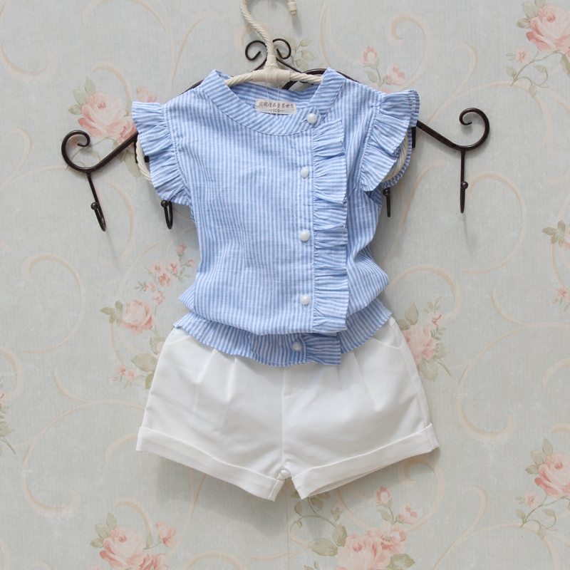 Girls   Blouse   Summer Cotton Striped   Shirt   2018 Casual   Blouse   Girl Sleeveless Button Design   Shirts   for Teenager Baby Girl Clothes