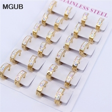 Fashion Jewelry Earrings Stainless-Steel Gold-Color Crystal MGUB 12-Pairs/Sets Models
