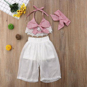 Girls Clothes Set Baby Summer Sleeveless Lace Bow Crop V-neck Tops Pants Headbands Girl Clothing 3PCS Outfits Toddler Children(China)