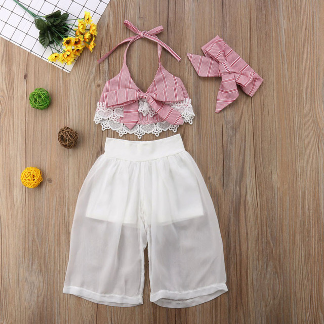 Summer Sleeveless Lace Bow Crop V-neck Tops Pants Headbands Girl Clothing 3PCS Outfits Toddler Children Baby Girls Clothes Set