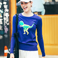 2016 autumn new spoof  o neck pullover for women dinosaur printing sweater women cartoon lovely pullovers mft25