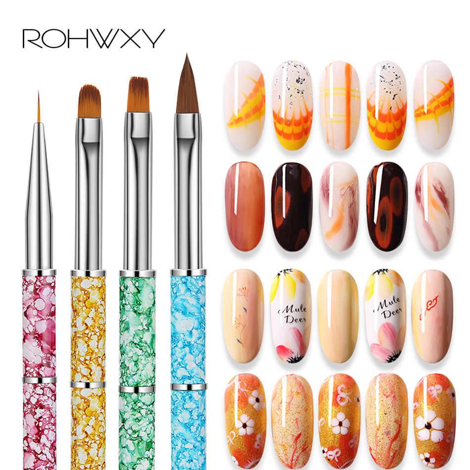 ROHWXY 12/4 pcs เล็บอะคริลิคแปรงเล็บ Art เล็บชุดแปรง UV เจลสายดอกไม้ภาพวาดเคลือบ Shaping แบนมุมพัดลมปากกา