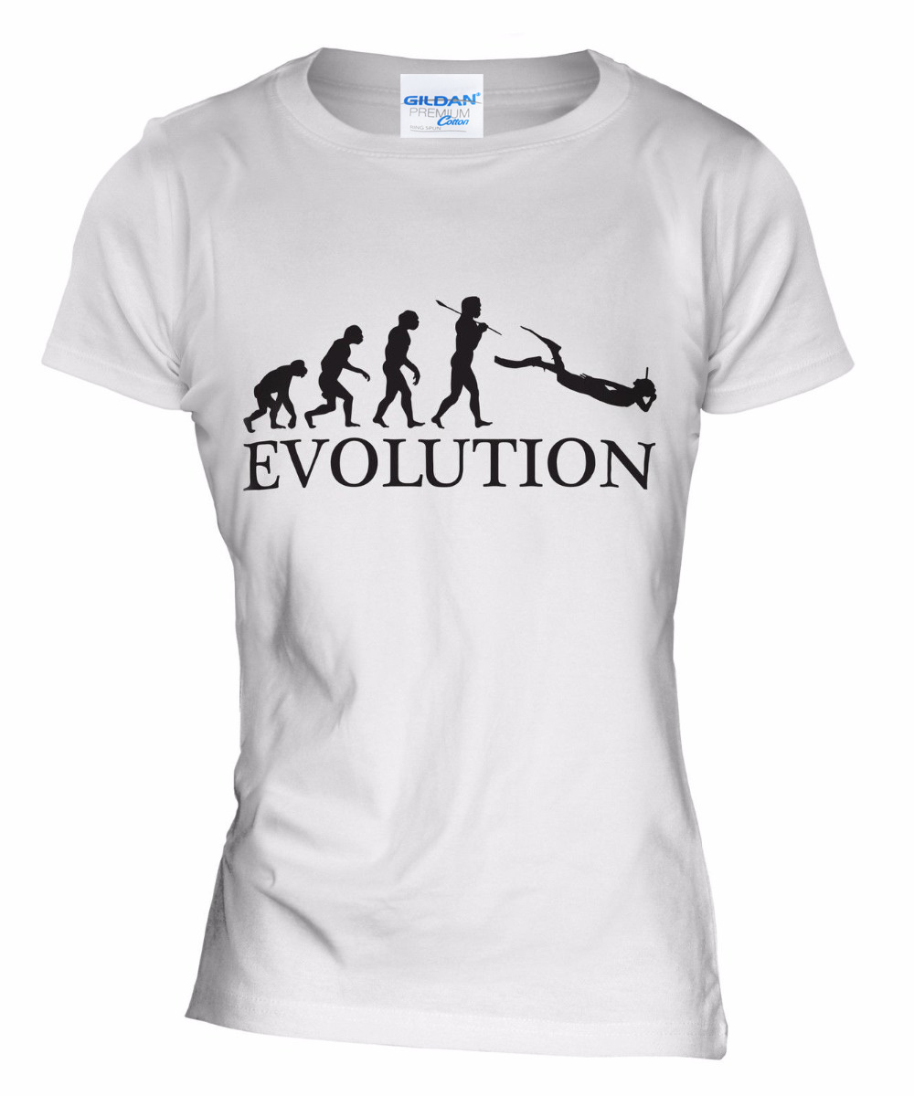 2018 New Brand Clothing Hot Sale Custom Special Print Women Scuba Diver Evolution Of Man Slim Fit T-Shirt Tee shirt