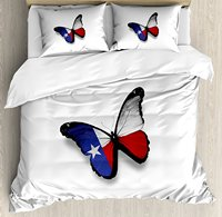 Texas Duvet Cover Set Texas Flag Butterfly American USA State Wings of Freedom and Independence 4 Piece Bedding Set