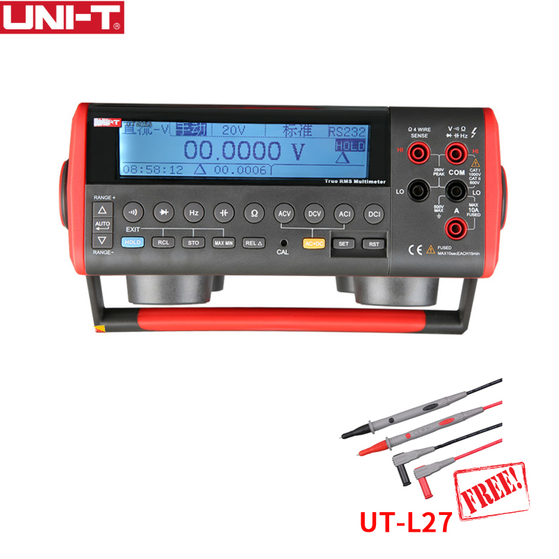 UNI-T UT805A Ture RMS Bench Auto Range Top Digital multimeters Volt Amp Ohm Capacitance Hz Tester 199999 Counts 1000V 10A 1 GIFT uni t ut804 lcd display bench type digital multimeters volt amp ohm capacitance hz 39999 counts tester high accuracy