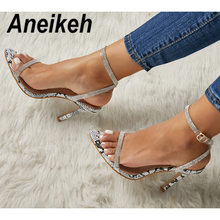 Aneikeh New 2019 Summer Women Shoes Concise Crystal Thin High Heels Gla