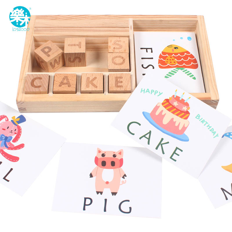 Baby Toy Learning English 60pcs Cards Chopping Building Wooden Block Learning And Educational Table Game Gifts For Children