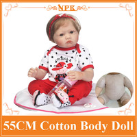 55cm NPK Cute Baby Reborn Doll Real Looking Soft Silicone Handmade Bebe Menina Toys Girls Play