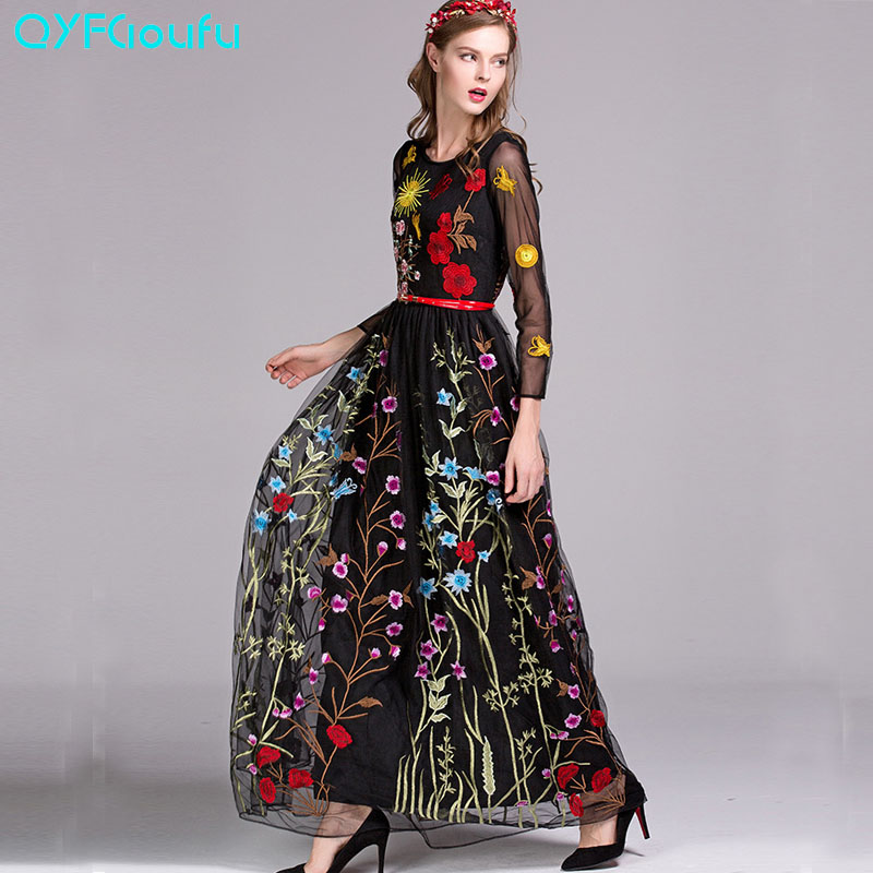 QYFCIOUFU High Quality Autumn Maxi Dress 2017 Runway Womens Fashion Long Sleeve Designers Tulle Floral Embroidered Black Dress