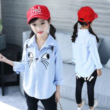 New Autumn 2018 Girls Shirts Girl Blouses Cotton School Blouses Girls Clothes 10 12 Year Cartton Cat Tops Blue Striped Shirt Tee