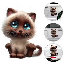 1pcs 15*18cm Cute Cat Car Body Sticker Animal 3D Racing Side Door Long Stripe Stickers Auto Vinyl Decal