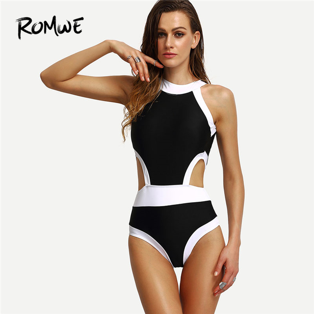 c00e61aa80 Romwe Sport High Neck Cutout One-Piece Swimwear Women Push Up Patchwork  Monokinis 2018 Summer