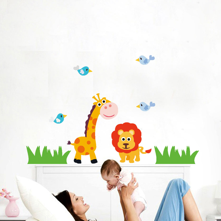 Zsiráf oroszlán madarak teknős dinoszaurusz baba dzsungel rajzfilm fal matricák gyerekek szoba állat vicces gyerekek vinil matricák lakberendezés