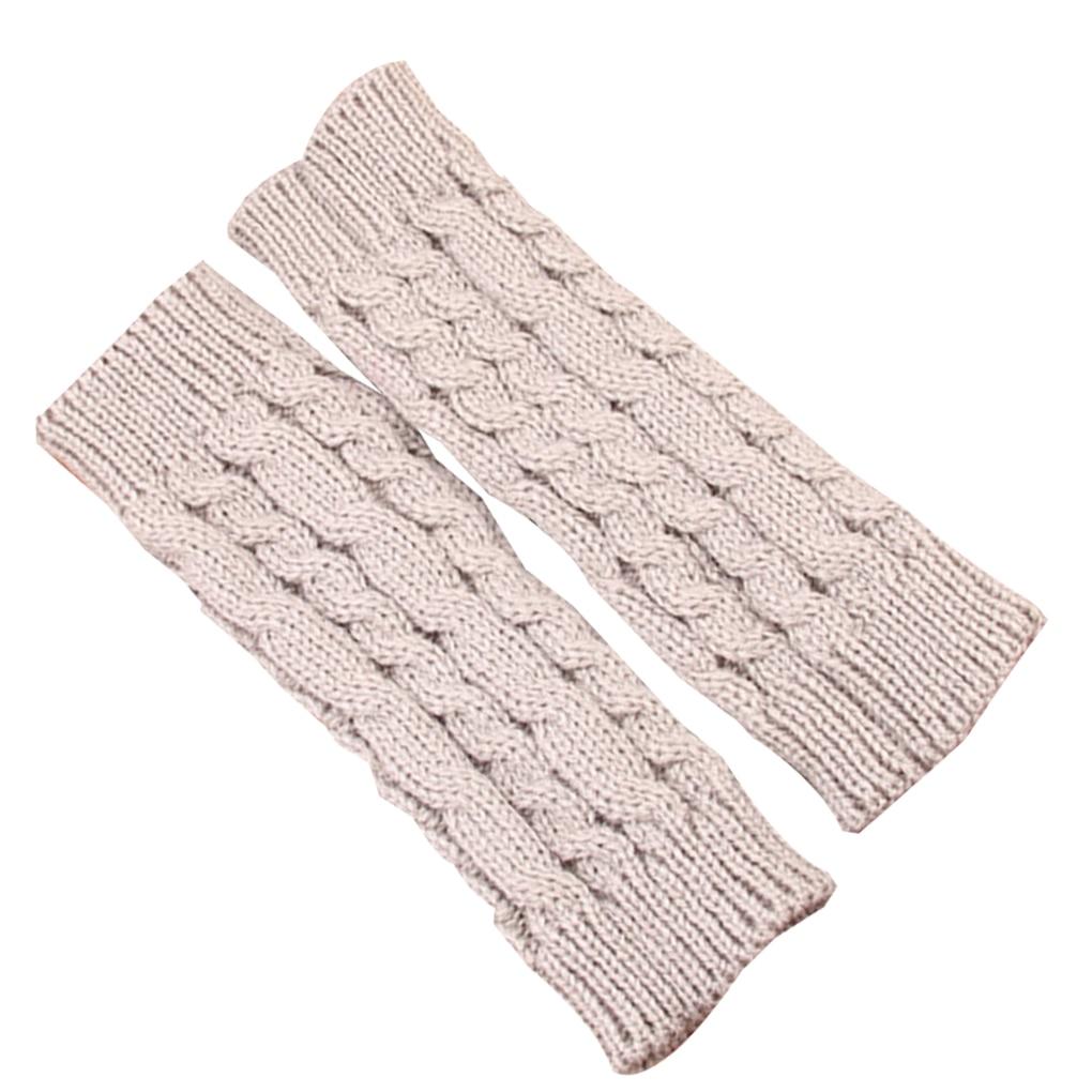1 Pair Winter Warm Women Knit Long Half Gloves Arm Warmers Holes Mittens Girls Winter Riding Winter Warm Gloves