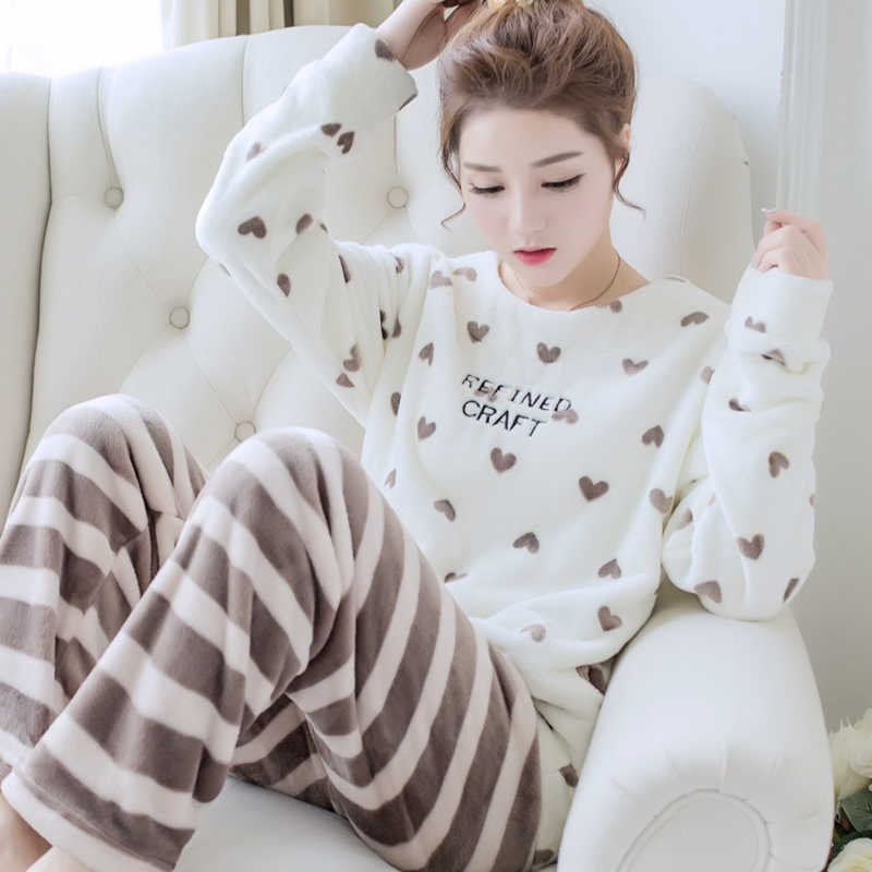 Коралловая флисовая Пижама для женщин, зимняя фланелевая женская пижама, набор 2018, теплая Пижама для женщин, зимние пижамы из плотной ткани для женщин, большой размер XL XXL