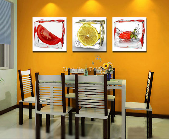 3pcs Modern Home Wall Decor Art Ice Cube Fruits Picture Restaurant Dining Room