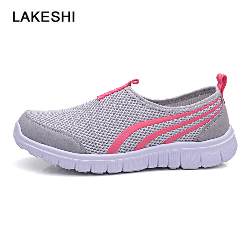 LAKESHI Shoes Summer Women Sandals Fashion Flats Casual Female Shoes Breathable Mesh Sneakers women s shoes 2017 summer new fashion footwear women s air network flat shoes breathable comfortable casual shoes jdt103