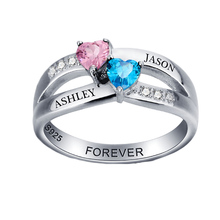 Promise Rings Engagement Rings Personalized Jewelry 925 Sterling Sliver Heart Birthstone Rings Custom Gift For Women