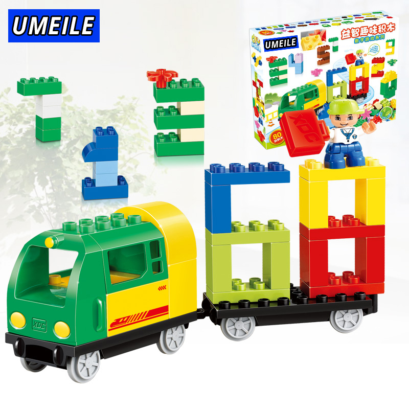 UMEILE Brand 80PCS Big Building Block Brick Science Education Baby Toys Digital Train Compatible With Duplo Christmas Present umeile brand farm life series large particles diy brick building big blocks kids education toy diy block compatible with duplo