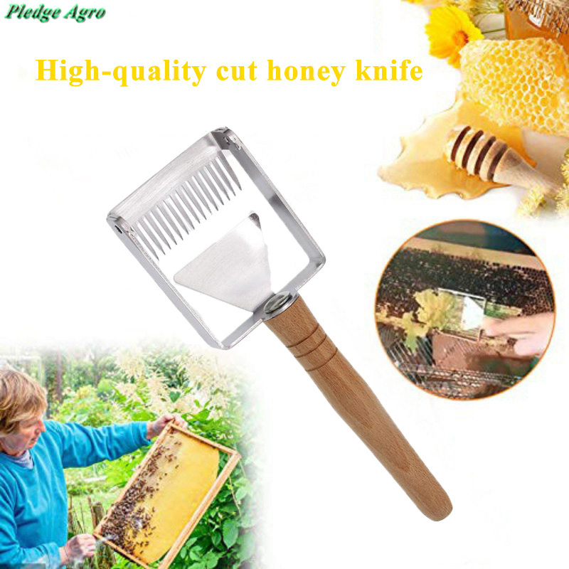 One pcs honey uncapping bee scraper beekeeping stainless steel wooden handle fork honeycomb cutting tools  apicultura equipmentOne pcs honey uncapping bee scraper beekeeping stainless steel wooden handle fork honeycomb cutting tools  apicultura equipment