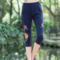 Women Elastic Pencil Pants Plus Size 4XL 2017 New Arrival Lady Skinny Leggings High Quality Embroidery Slim Capris