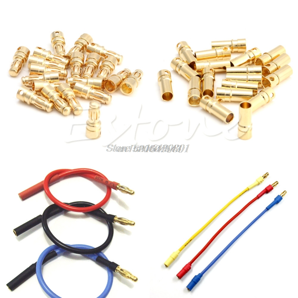 20Pairs 3.5mm Gold-plated Bullet Banana Plug Connector Male + Female RC Battery R06 Drop Ship 20pairs lot 3 5mm rc gold bullet connector battery esc banana plug with heat shrink tubing