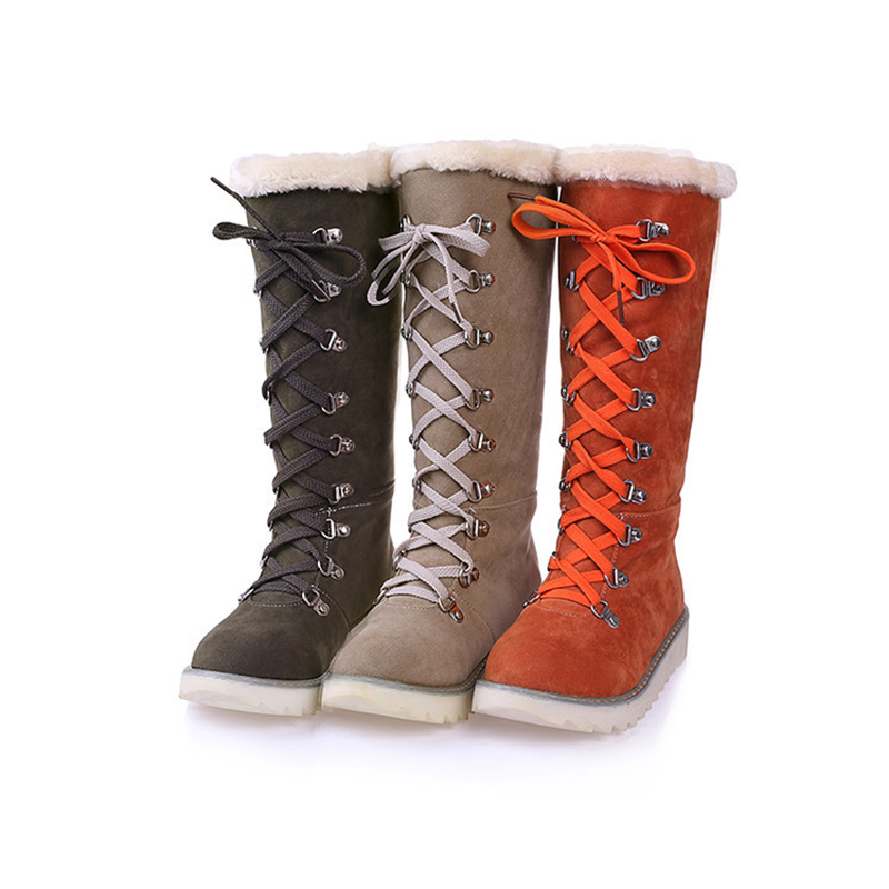 Mid Calf Boots Wedges Snow Boots Women Shoes Orange Army Green Pltaform Flat Lace Up Fashion Lady Fur Winter Boots Plus Size 43 brand new winter quality women mid calf wedges boots fashion black red beige lady riding shoes eym02 plus big size 10 43