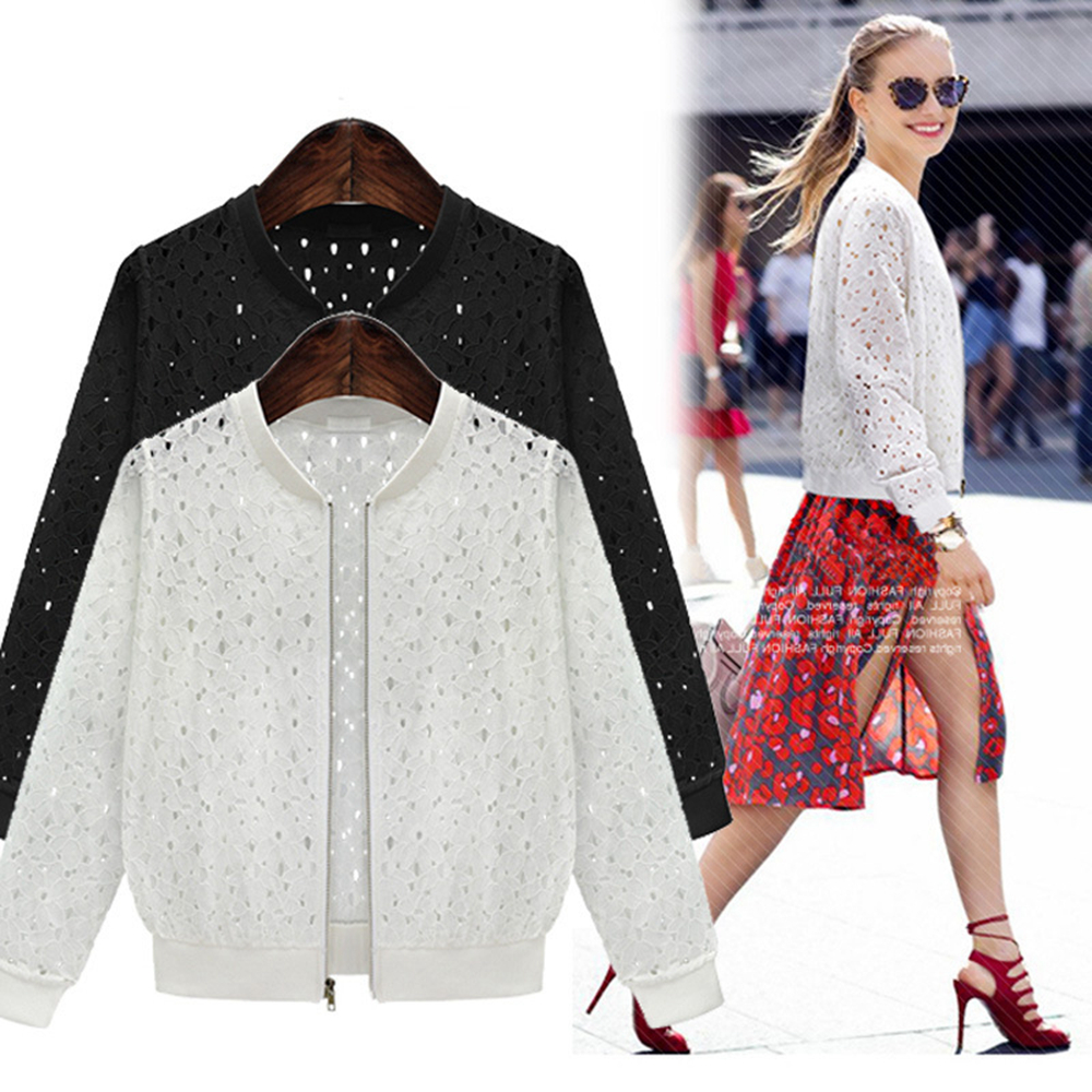 2018 New Fashion Hollow Out Lace Women Jackets Autumn Winter Solid Long Sleeve Outwear Women Clothes Zipper Up Basic Jacket