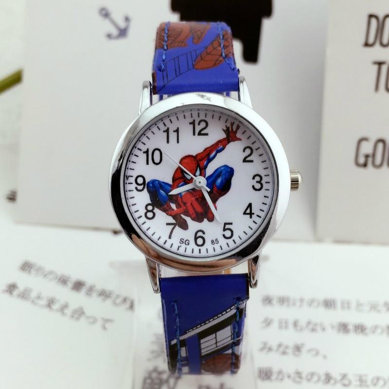 Free Shipping 10pcs Kids Watches Spiderman Children Watch Life Waterproof Leather Quartz Wristwatches Child Watch Girl Boy Clock