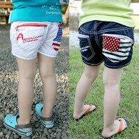 2017 Summer Wear Korean The Stars And Stripes Catamite Girl Children's Garment Shorts Baby Children Time Pants Tight Pants