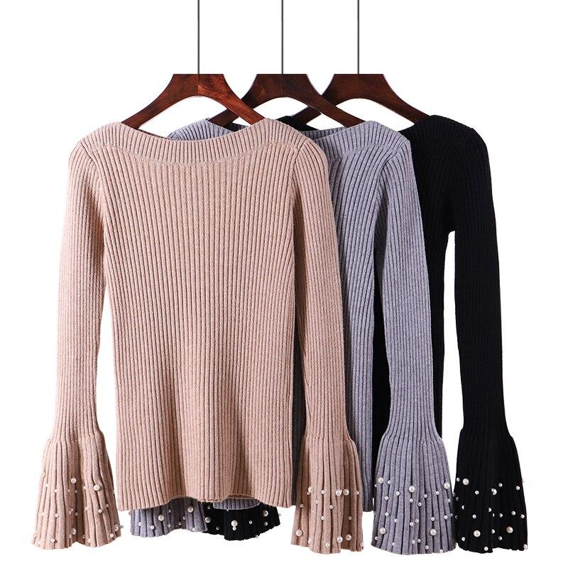 2018 herbst Frauen Dicken Pullover Warme Oberbekleidung Neue Stil Mode Friesen Sleeve Pullover Winter Slash Neck Pullover Weibliche D215