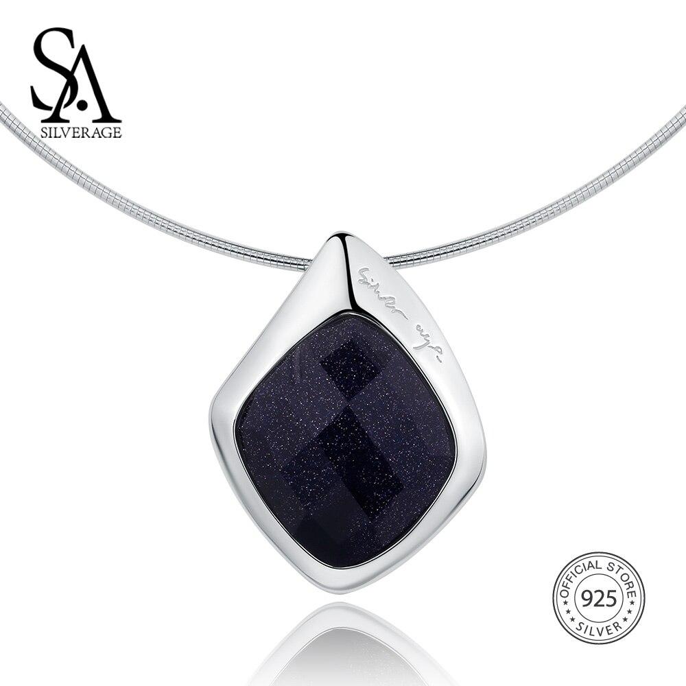SA SILVERAGE 925 Sterling Argent collier ras du cou Noir Aventurine Tour de Cou Colliers bijoux fins Pour Femmes 12.58g/45mm * 30mm - 5