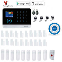 Yobang Security Wireless WiFi GSM Alarm System Compatible IOS Android APP Control Touch Keyboard Support 8
