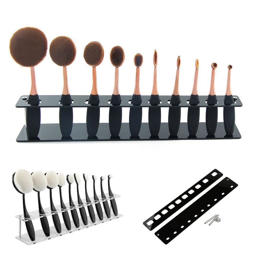New Cosmetic Oval Shaped Makeup Brush Display Holder Professional 10 Pcs Makeup Brushes Foundation Brush Shelf Holder Hot Sale