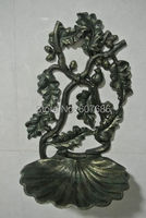 Vintage Cast Aluminium Alloy Candle Holder Hand Painting Acorn Nuzleaf Wall Decor With Shell Seashell Shape