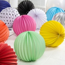 14colors 19cm Accordion Paper Lanterns Hanging For Wedding Decoration Birthday Party Events Festival