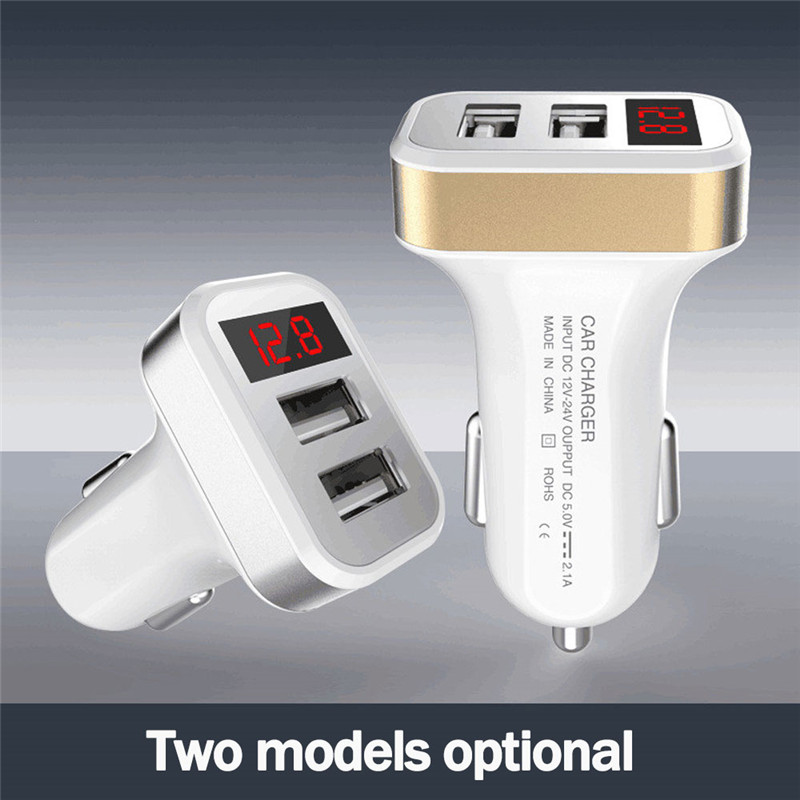 Hot Selling Best 2USB 2.1A Car-Charger Auto Car Charger Mini Voltage Current Display Voltage Warning Charge For Cellphone Tablet